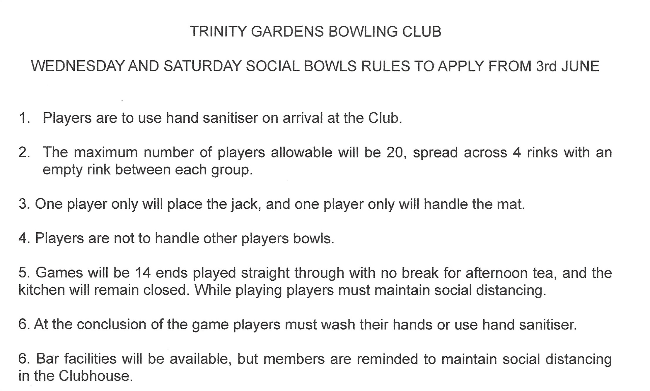 social bowls conditions